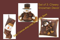 Set of 3 only $49.95 & Free Shipping! SNOWMAN STOCKING PILLOW SET CHEERY CHRISTMAS DECOR BROWN GOLDEN SPARKLE http://stores.ebay.com/Slems-Gift-Store *OR* order directly from me at dslem3@yahoo.com and receive 20% off any item in the store!