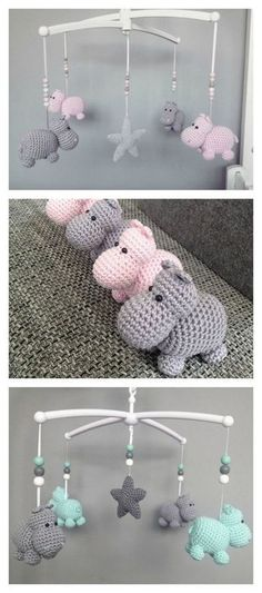 Crochet Baby Patterns Crochet Hippo Animal Baby Mobile Free Pattern - Use these cute Hippo Amigurumi Crochet Patterns to create wonderful stuffed animals with enough unique shape to make them instant favorites with children. Crochet Hippo, Cute Crochet, Crochet Animals, Crochet Dolls, Crotchet, Crochet For Baby, Crochet Rabbit, Simple Crochet, Crochet Clothes