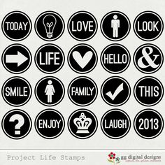 Project Life Digital Stamps - print in any color you want! Project Life Freebies, Project Life Cards, Life Journal, Journal Cards, Bullet Journal, Ideas Scrap, Design Fonte, Project Life Scrapbook, Stamp Printing