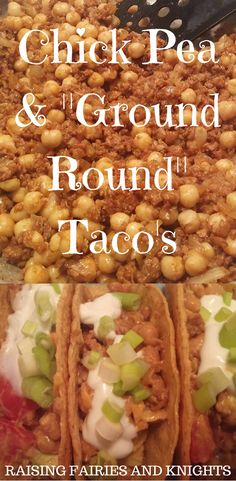 "Chick Pea & ""Ground Round"" Taco's - Liven up Meatless Monday or Taco Tuesday with Chickpea & ""Ground Round"" Taco's.  A great vegetarian staple to add in to your family's meal roster."