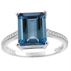 14k Gold Natural London Blue Topaz Ring, Octagon, 10x8mm, Diamond Accented…