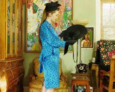 Retro 40's Leopard Blue Suit . Vintage 80s Madonna Era Cerulean Jacquard Suit . APOSTROPHE label . Double Peplum Jacket . Pencil Skirt . 8 .