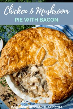 My chicken and mushroom pie is proper comfort food. Encased in buttery puff pastry, and made extra special with a sprinkling of bacon, it's a family mealtime favourite. #chickenpie #pieweek #comfortfood #winterfood #whoateallthepies #mushrooms #puffpastry #familydinner #nationalpieweek #britishpieweek