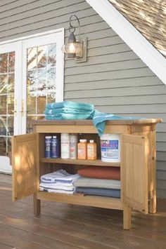 Storage Buffet Cabinets - Cedar Patio Outdoor Teak Storage Units by Brookbend