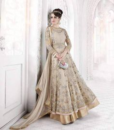 Cream Color Net Embroidery Semi Stitched Salwar Kameez Suits