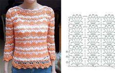 D'iDéias Arte Crochê: Blusas lindíssimas em crochê com gráficos