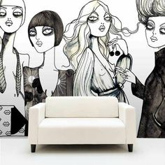 Personalized Illustrated Wallpaper - 'Your Wallpaper' is a Swedish design company and collective who has produced really cool personalized wallpapers since Basicall. Street Art Graffiti, Graffiti Murals, Mural Art, Wall Murals, Wall Art, Wall Decor, Wallpaper Companies, Wall Drawing, Modern Wallpaper
