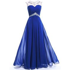 SimpleDressUK Long Chiffon Evening Party Prom Dress Floor-Length... ❤ liked on Polyvore featuring dresses, blue dress, long prom dresses, long party dresses, long cocktail dresses and special occasion dresses