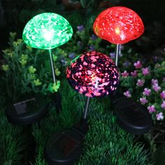 Blown Glass · Solar Mushroom Garden Lights