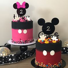 "106 Likes, 24 Comments - Tania (@baking_bad_melbourne) on Instagram: ""My favourite #twins turn 2! Mickey and Minnie theme's for Charlie and Holly - These cake toppers…"""