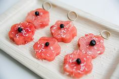 Watermelon Bamboo Skewers with Coconut. Bamboo Skewers from Bioandchic.com