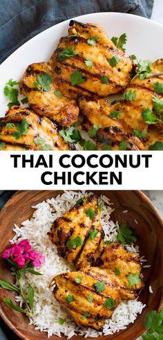 Thai Coconut Chicken, Thai Grilled Chicken, Coconut Chicken Recipe Healthy, Fresh Chicken Recipes, Healthy Grilled Chicken Recipes, Grilling Chicken, Asian Chicken, Asian Recipes, Healthy Recipes