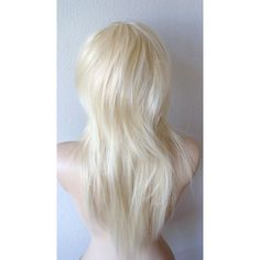 Platinum Blonde wig. Scene hair Razor cut long straight hair with many... ($98) ❤ liked on Polyvore featuring hair