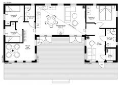 4 Bedroom House Plans, Dream House Plans, U Shaped Houses, Floor Plan Drawing, Simple House Plans, Best Barns, House By The Sea, House Layouts, Planer