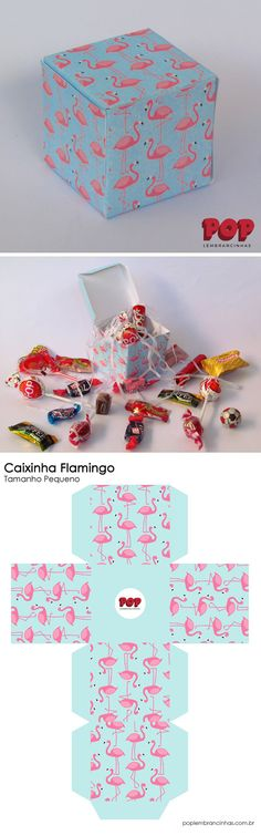 Caixinha para Festa Flamingo com Molde Festa Flamingo, Baby Box, Gift Bags, Decorative Boxes, Tropical, Personalized Stationery, Carton Box, Kawaii Things, Sachets