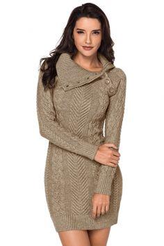 a80d62b127d Asymmetric Buttoned Collar Apricot Bodycon Sweater Dress. Long Sleeve  Sweater DressKnit DressPeplum DressCollar DesignsWinter DressesCasual ...