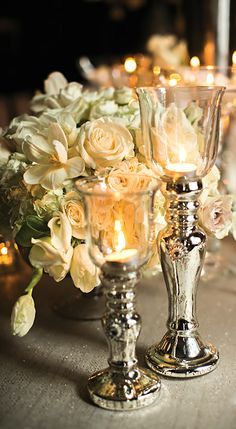 Silver & Glass Candle Holders