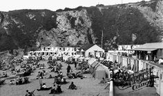 Old photo of Lusty Glaze Beach c1960, Newquay, Cornwall, England