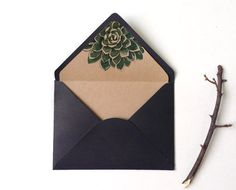 Botanic succulent envelope liner Watercolor by BlueBirdlovePaper