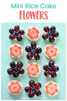 How to make cute and easy mini rice cake flowers - fun healthy party food idea for kids Rice Cake Recipes, Rice Cakes, Whole Food Recipes, Party Food Spread, Best Party Food, Fun Snacks For Kids, Good Healthy Snacks, Cute Food, Good Food
