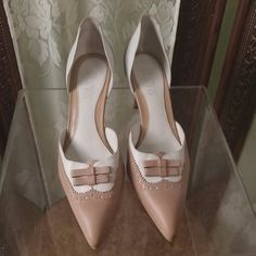 Franco Santo tan and white heels 3 inch heel open sides Franco Sarto Shoes Heels