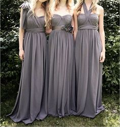 Find More Bridesmaid Dresses Information about Sexy New Dark Grey Long Bridesmaid Dresses  Convertible Formal Prom Party Gown DIY Dress Style as You Like,High Quality gowns with long sleeves,China dress cardigan Suppliers, Cheap gown evening dress from Hh-Dress on Aliexpress.com