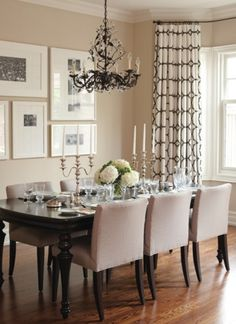 Traditional neutral dining room design ideas for your decor. Dining Room Art, Dining Room Design, Dining Area, Dining Table, Curtains For Dining Room, Dining Room Picture Wall, Beige Dining Room, Dinning Room Wall Decor, Outdoor Dining