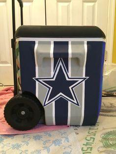 Custom cooler painting Dallas Cowboys design fraternity cooler