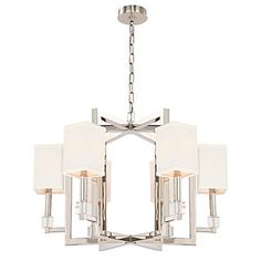 Crystorama Dixon Chandelier, Nickel, This sleek chandelier is crafted of steel with solid glass elements and a polished nickel finish. Each light is topped with a neutral silk shade. Modern Chandelier, Chandelier Lighting, Modern Lighting, Chandeliers, Lighting Ideas, Chandelier Ideas, Pendant Chandelier, Bathroom Lighting, Ceiling Canopy