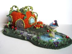 Instructed entirely of crochet.....Crochet Pumpkin House. No pattern but an awesome work of art!