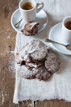 Something dark that's covered by powdered sugar, irresistible.