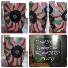 Hand Painted Garbage Can #Acrylic Paint #Rhinestones #Cleargloss @Paige Queen TuT Stewart #DIY #Decorated