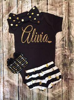 Personalized Name Onesies Baby Girl Monogram Shirts - BellaPiccoli