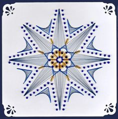 ED079 Christmas star on Craftsuprint designed by Emy van Schaik - made by - Stitching with beadsBlue Christmas star. Used spacers with beads and long glassbeads. For the accents use double thread. - Now available for download!