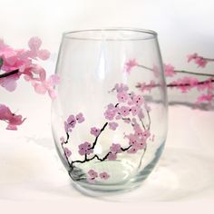 How to hand paint glass with flowers such as these lovely spring cherry blossoms using Martha Stewart Crafts glass paint and simple wine glasses from a dollar store. DIY, handmade, Martha Stewart Crafts, Glass Paint, Cherry Blossom, how-to, Pink flowers, Cherry Tree, make your own, homemade