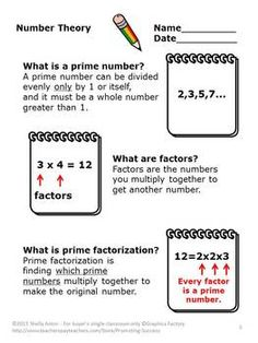 Number Theory Divisibility Rules Worksheets 5th Grade Math Digital Activities Number Theory Math Math Numbers