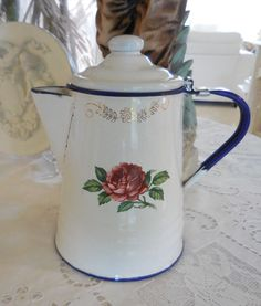 Darling VINTAGE ENAMELWARE CHILD S COFFEE POT white w roses CHIC French Cottage