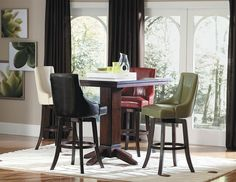 Annabelle 5Pcs Counter Height Dining Set 2479(Counter Height Table,4 Brown Counter Height Chairs)For the ultimate in casual dining options, the Annabelle Collection is an answer for your contemporary vision. The fluted-base pedestal table is offered in 42-inch height. Further lending itself as a flexible design options are the swivel pub chairs in 29-inch seat height and swivel counter height chairs in 24-inch seat height – offered in four colors: brown, cream, green and…