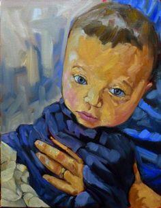 Daddy's little helper, oil on Belgian linen, 14X18, by Carol L. Douglas
