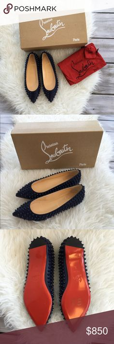 NWOT Christian Louboutin Pigalle Flats These are a gorgeous deep navy blue. They are brand new and include the box, dust bag and extra spikes. Please know your size in Louboutins. No trades, no PayPal. Christian Louboutin Shoes Flats & Loafers