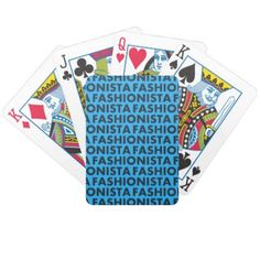 Bold Blue Fashionista Text Cutout Bicycle Playing Cards - women woman style stylish unique cool special cyo gift idea present