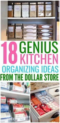 Organize your entire kitchen with just one trip to the dollar store! These Dollar Store organization ideas will declutter your kitchen and save you a ton of money!