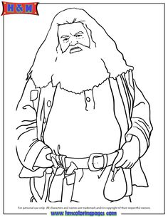 Half Giant Rubeus Hagrid From Harry Potter Movie Coloring Page Harry Potter Characters, Harry Potter Art, Outline Drawings, Art Drawings, Harry Potter Coloring Pages, Harry Potter Bookmark, Rubeus Hagrid, Harry Potter Printables, Mermaid Coloring Pages