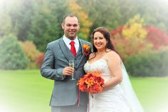 Rachel wearing her lovely Veromia wedding gown and making the most of the beautiful Autumnal colours for the time of year.