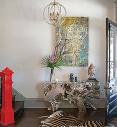 Exotic entry of Eli Hale and Zia Sachedina's home. Photo credit Richard Leo Johnson | Spherical Cube Pendant: CHC5130