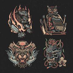 Book Illustration, Illustrations, Oni Mask, Japan Art, School Design, Tattoo Drawings, Old School, Tatoos, Mary