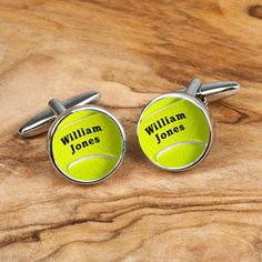 Personalised cufflinks with a highly polished chrome finish and tennis ball design. Can be personalised with recipient's name. Please note that due to the personalised nature of these cufflinks they cannot be dispatched for 1-2 working days. Express orders placed before 2pm will be dispatched on a next day service the following working day.