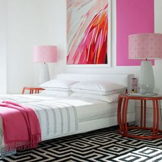 Bedroom Bliss. Black and white and pink. Interior Designer: unknown.