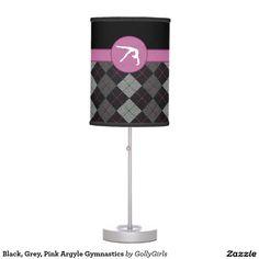 Black, Grey, Pink Argyle Gymnastics Desk Lamp - Classy gymnastics table lamp with a beautiful black, grey, and pink argyle backdrop. It has a gymnast silhouette inside of a pink circle. ©gollygirls.com