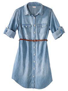 Good jeans Merona Women's Denim Belted Shirt Dress. $27.99; Target.
